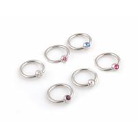 Украшение для пирсинга (кольцо) из стали 316L с камнем