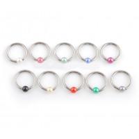 Украшение для пирсинга (кольцо) из стали 316L с жемчужиной
